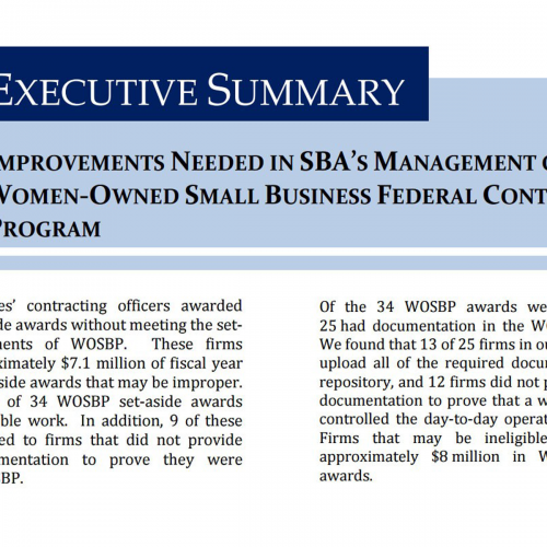 SBA Inspector General Report on WOSB Set-Asides